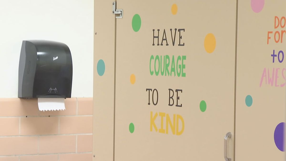 Teachers decorated bathrooms at Huntley Elementary School in Appleton with inspirational messages (WBAY photo)
