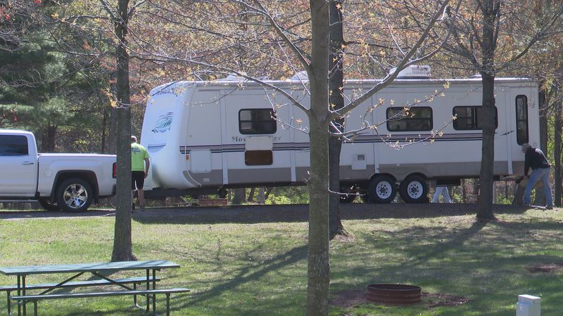 Campers set up early on day one of season