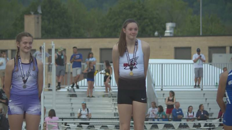 Roisin Willis after winning at state track.