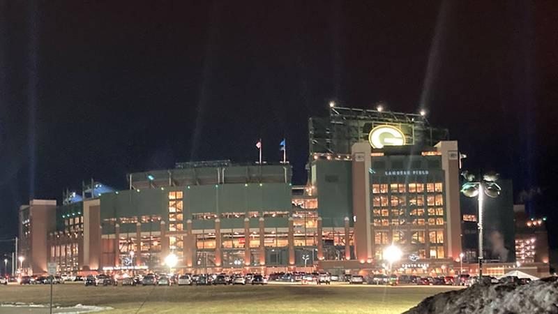 Lambeau Field on the night of the NFC Divisional Championship