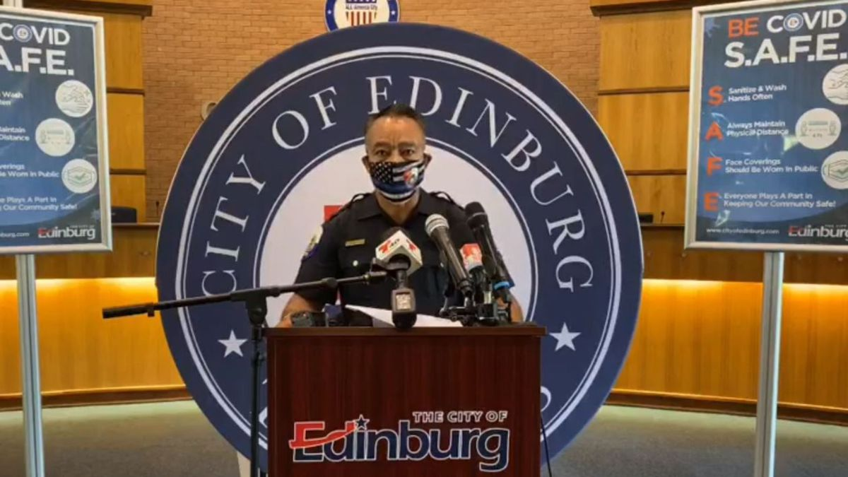 Edinburg Police Chief Caesar Torres announces the deaths of four family members during a Tuesday news conference.