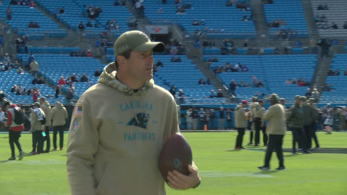 Carolina Panthers linebackers' coach Steve Russ on the sidelines in Charlotte, North Carolina.