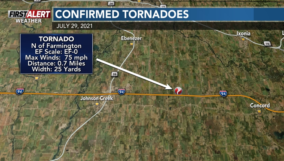 An additional tornado was found to have occurred north of Farmington.