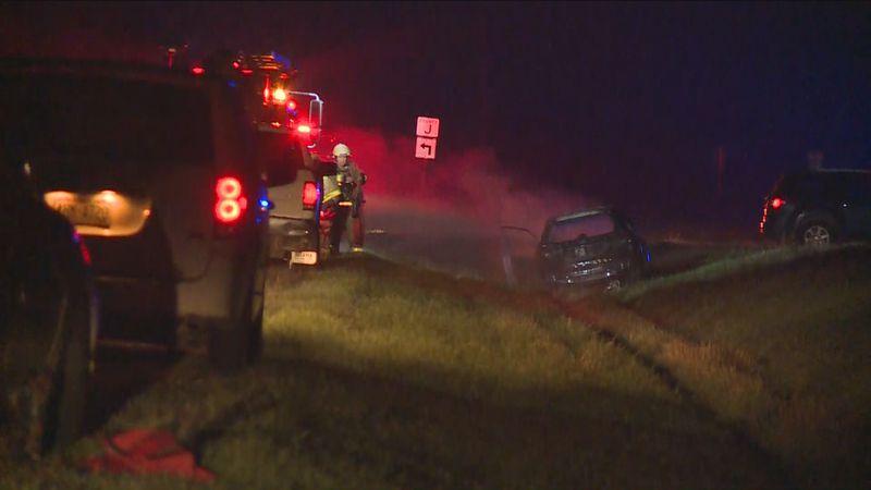 Crews responded to a car vs. cow crash early Thursday near the town of Easton.