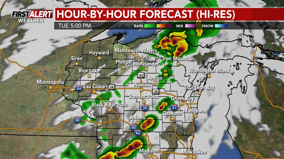 Storms develop Tuesday afternoon in a favorable environment for severe weather.