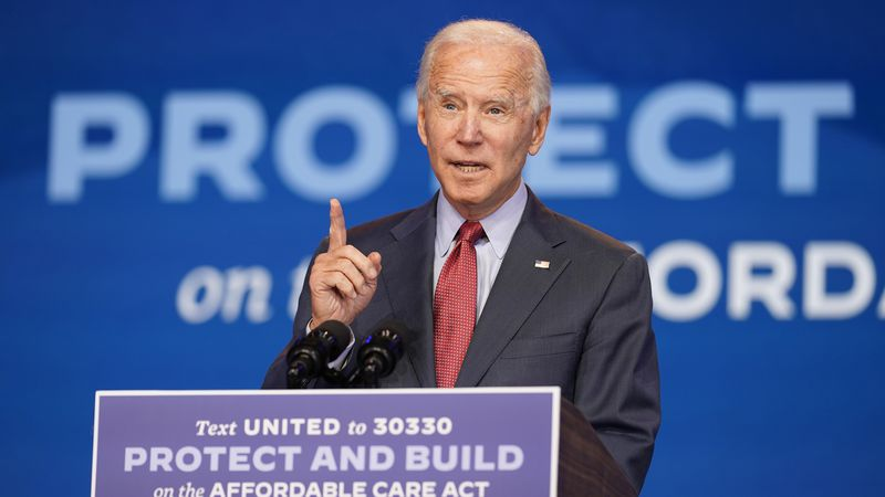 Former Vice President Joe Biden speaks about the coronavirus and health care at The Queen...