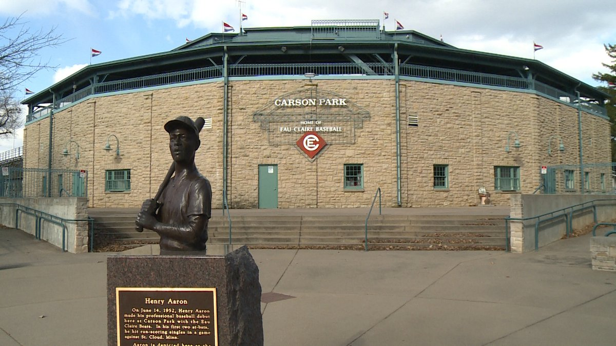 The Hank Aaron statue outside of Carson Park in Eau Claire is featured in a video montage...