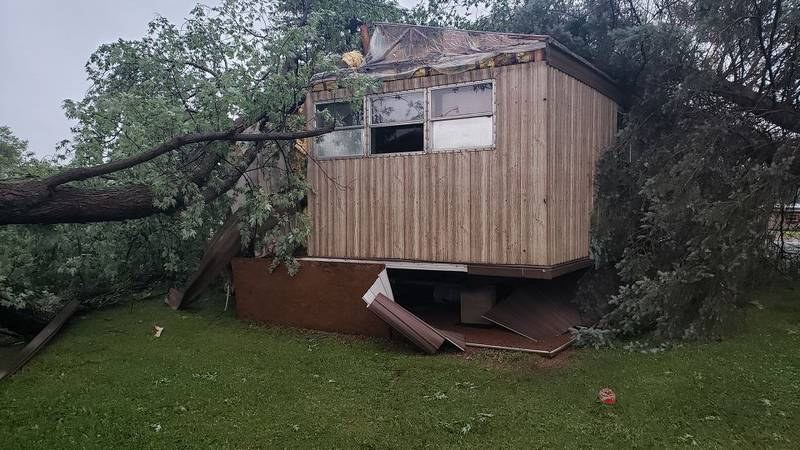 Downed tree causes significant damage to home in Merrill on July 29, 2021.