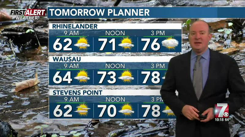 Hazy with a mix of sun and clouds Monday. A chance of showers or a storm later Tuesday.