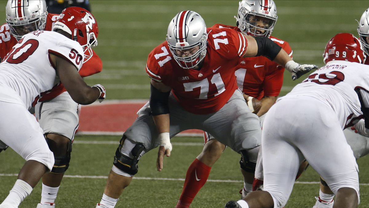 Ohio State offensive lineman Josh Myers plays against Rutgers during an NCAA college football...