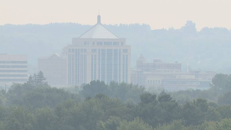 Wausau skyline Thursday morning after the winds pushed smoke from Minnesota wildfires.