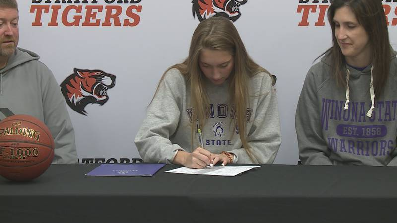 Stratford's Breanna Ackley signs to play basketball at Winona State.