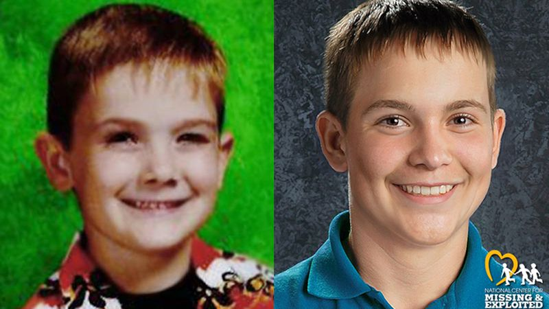 Timmothy Pitzen, age 6 (left) and an age progressed photos showing what he may look like today.