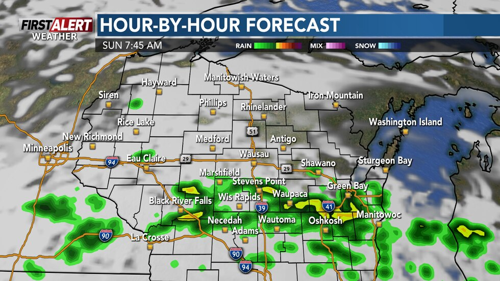 Showers and thunderstorms expected Sunday morning south of Highway 29.