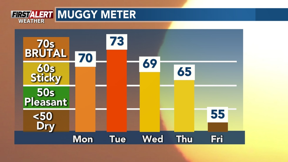 Steamy start to the work week. Dew points will be brutal over the next few days.