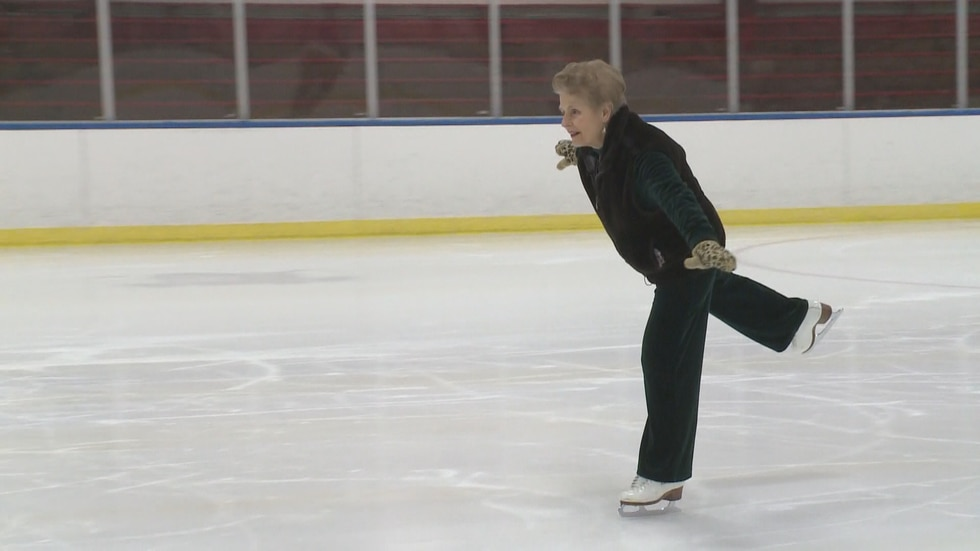 Charlotte Hoecker, 84 at the time, glides on the ice as she teaches students of all ages.