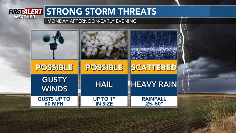 """Hail up to 1"""" in size and gusty winds are the main threats on Monday afternoon."""