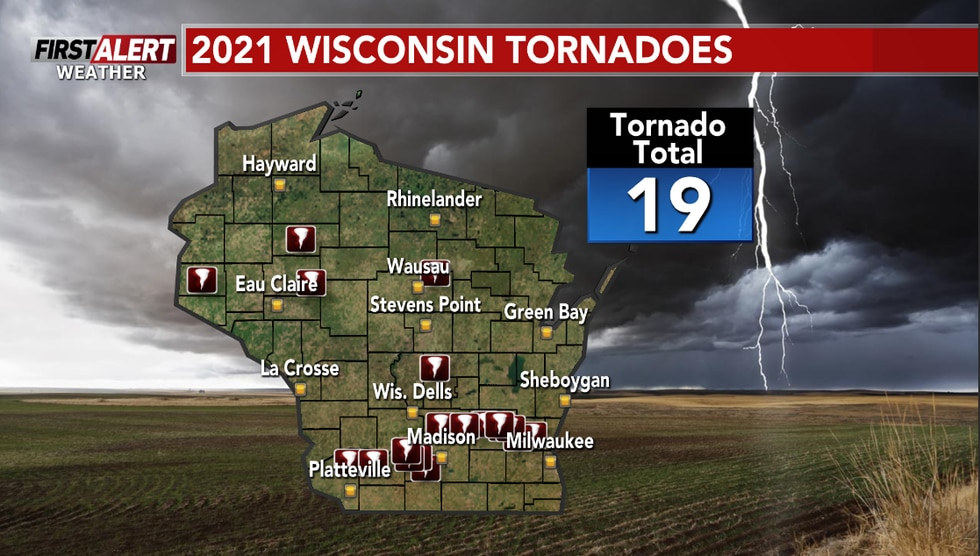 So far there have been 19 tornadoes in Wisconsin this year.