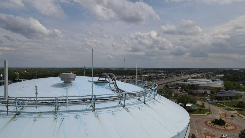 The City of Oshkosh Police Department captured a hawk's nest on top of a water tower.