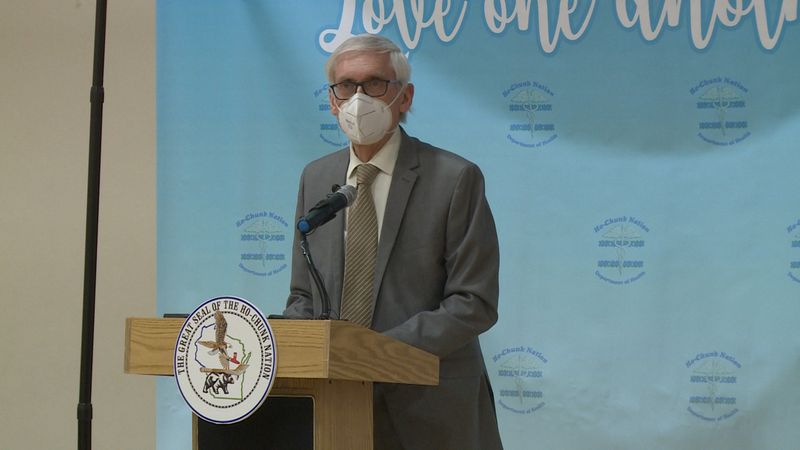 Wisconsin Gov. Tony Evers speaking after touring the Ho-Chunk Nation's COVID-19 vaccination...