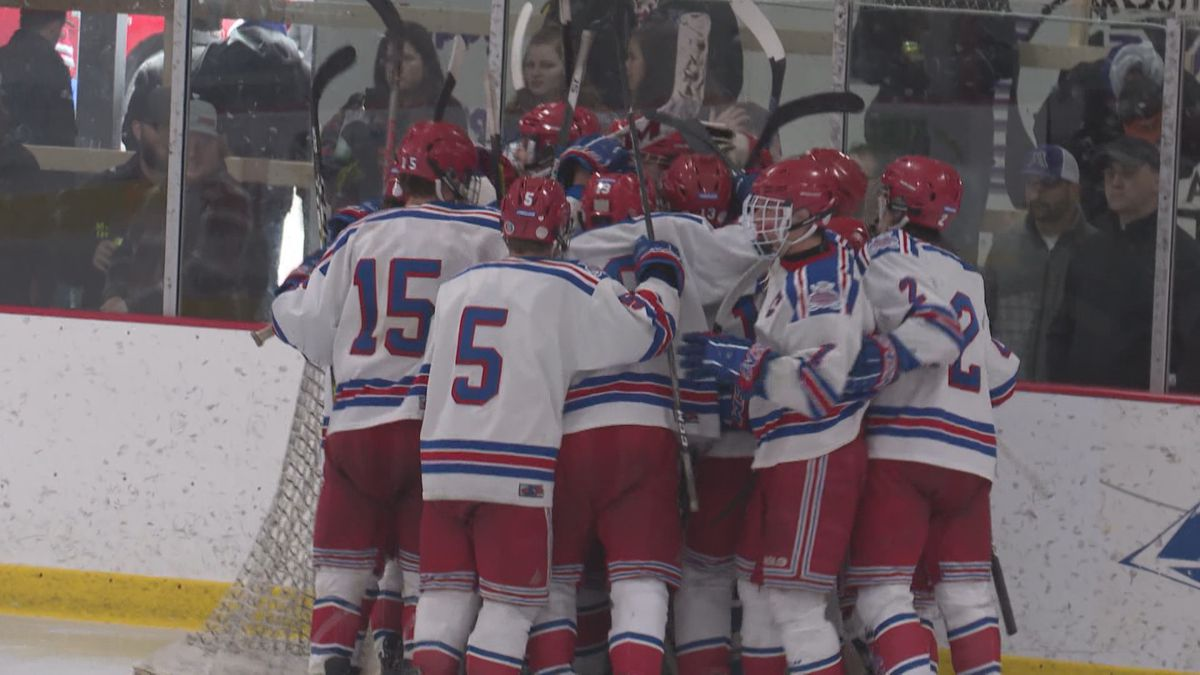 Northland Pines celebrates after beating Mosinee 4-3 in Mosinee, Wisconsin, on February 29, 2020.