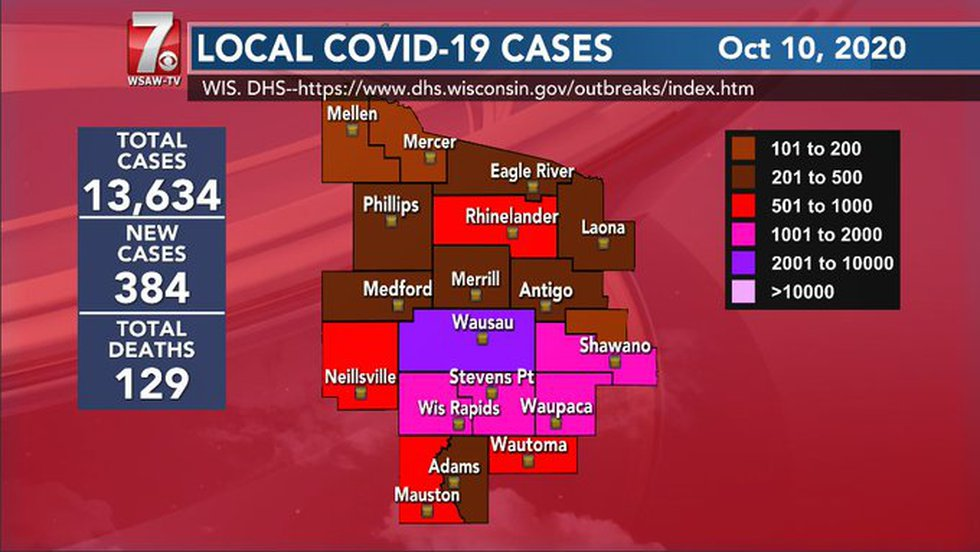 Central Wisconsin COVID-19 numbers for October 10, 2020.