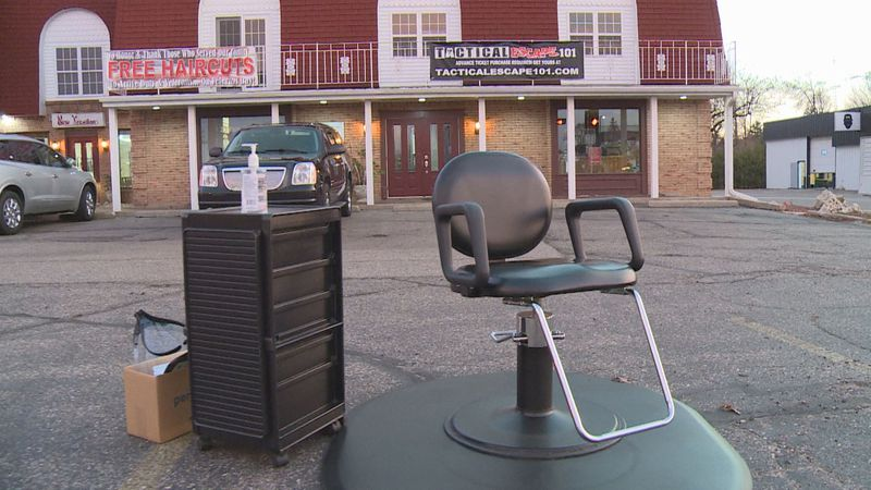 Donna Salter, owner of New Kreations, offered haircuts outside on Friday.