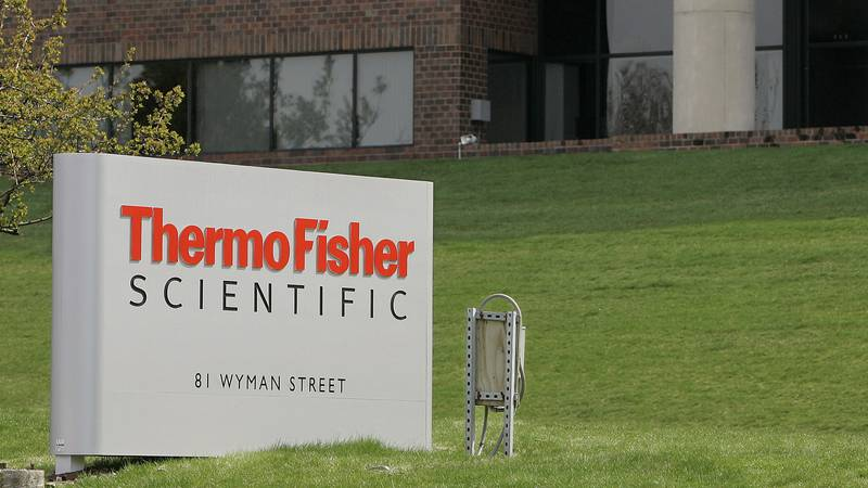 FILE - This April 26, 2007 file photo shows the exterior of Thermo Fisher Scientific Inc., in...