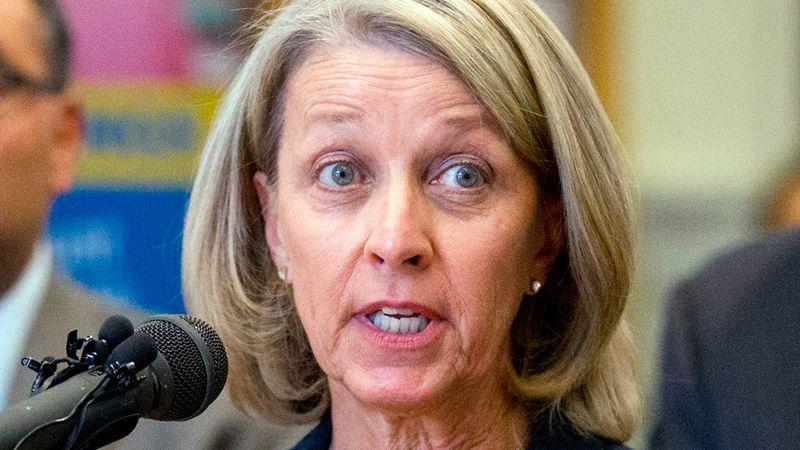 FILE - In this Oct. 18, 2016, file photo, Nevada's Secretary of State Barbara Cegavske speaks...