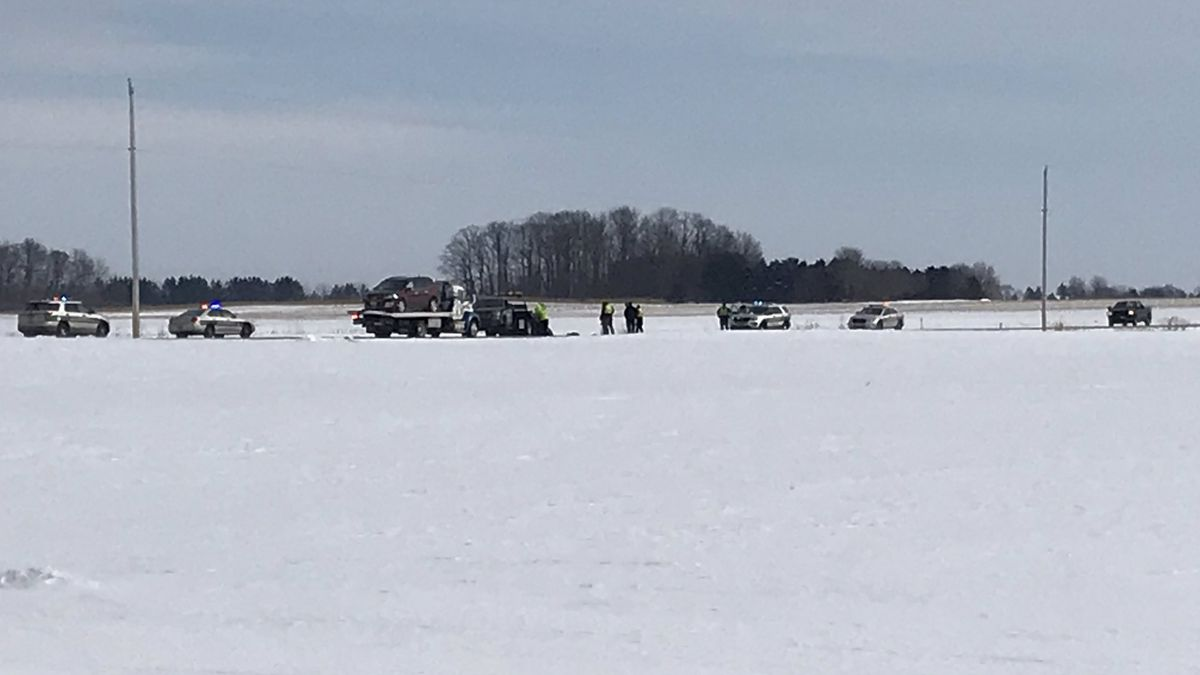 A 15-year-old Seymour student is killed in a snowmobile crash on County Highway VV. Feb. 12, 2020. (WBAY Photo)