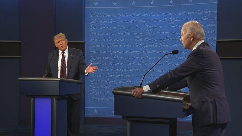 President Trump and Joe Biden on the podium during the debate.