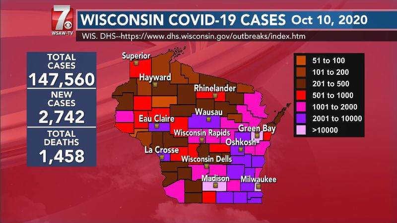 Wisconsin COVID-19 numbers for October 10, 2020.