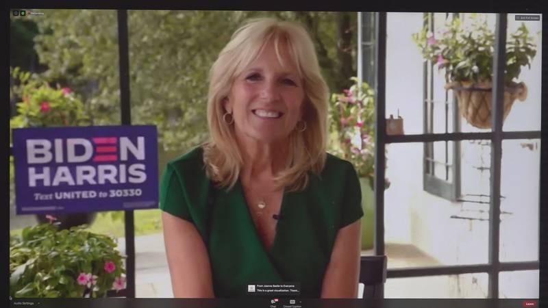 Jill Biden urged Virginia women to throw their full support behind the Democratic ticket,...