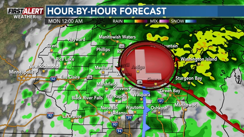 The wet weather will move out after midnight.