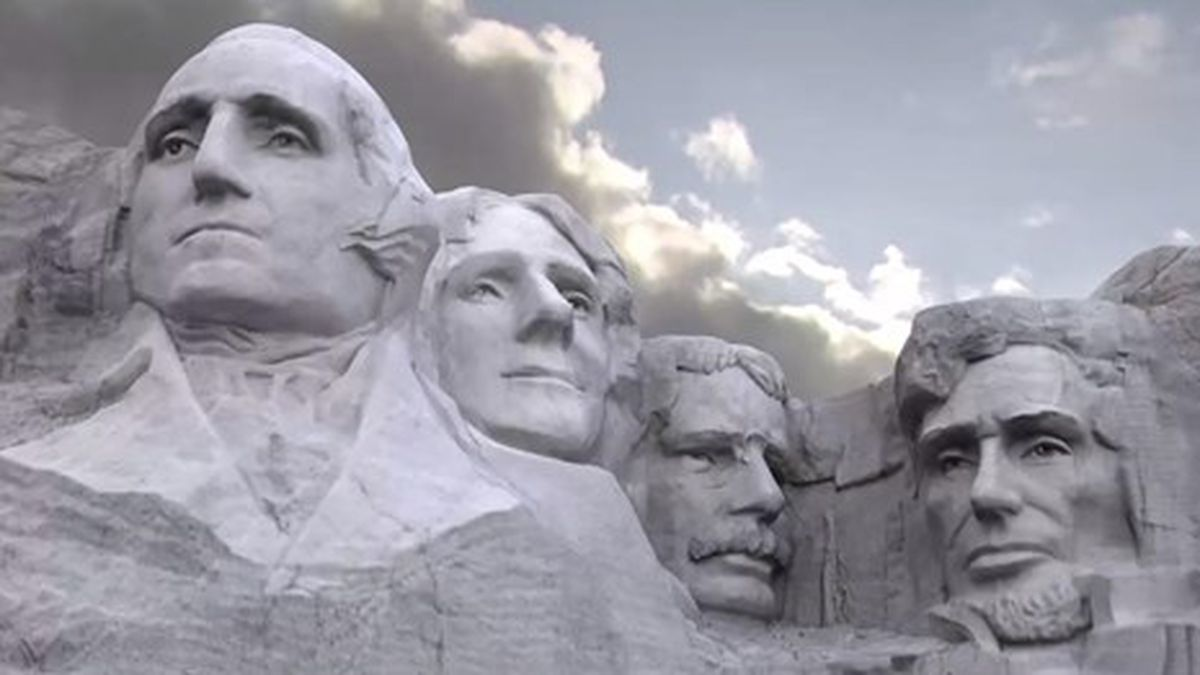 Mount Rushmore features the likenesses of former presidents George Washington, Thomas Jefferson, Theodore Roosevelt and Abraham Lincoln.