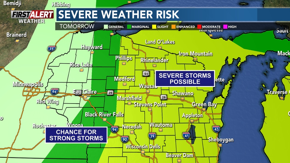 Storm Prediction Center has put most of Central Wisconsin in a level 2 out of 5 risk for severe...