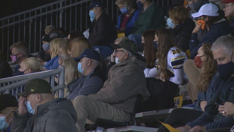 Wausau West fans cheer on the football team as they take on Rice Lake Friday night.