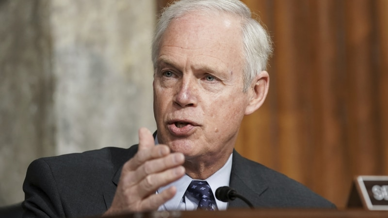 FILE - In this March 3, 2021 file photo, Sen. Ron Johnson, R-Wis., speaks at the U.S. Capitol...